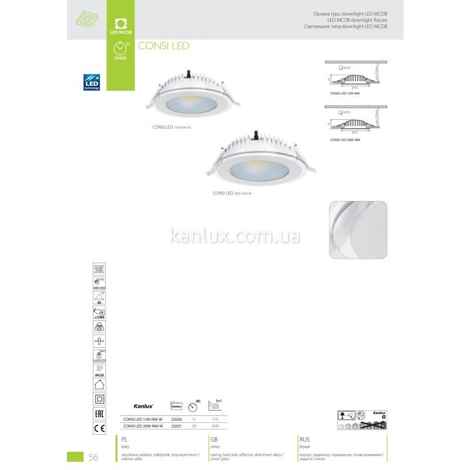 Kanlux Consi LED 20W-NW-W (22021)