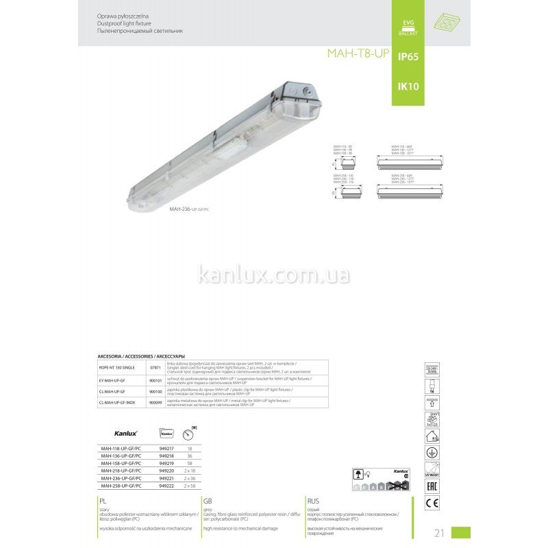 Kanlux MAH-T8-UP MAH-218-UP-GF/PC (949220)