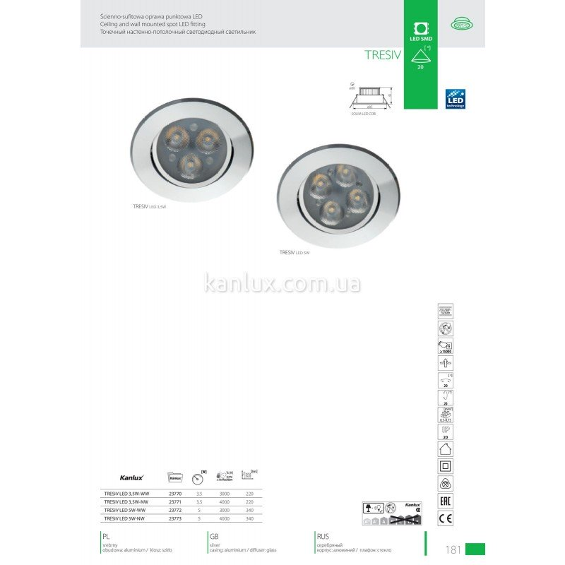 Kanlux Tresiv LED 5W-WW (23772)